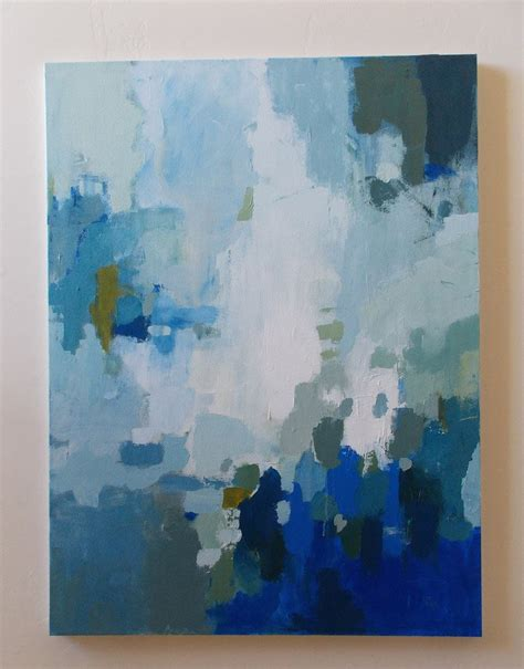 Large Abstract Painting Blue And White Acrylic On Canvas