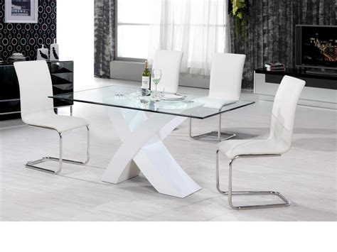 White Dining Table And Chairs For Sale by White High Gloss Dining Table 4 Chairs Clear Glass