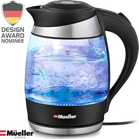 electric kettle mueller cordless liter borosilicate led glass light pohsnio austria 1500w bpa shut boil protection dry premium tech auto