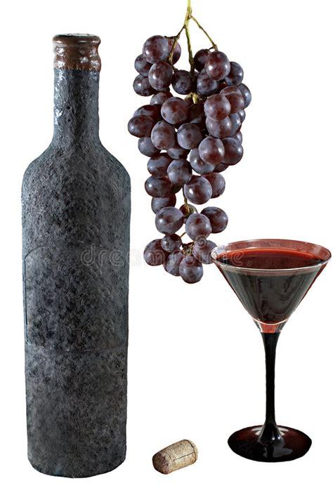 Becher Weiß by Getrennte Alte Flasche Wein Mit Einem Vollen Becher Wein