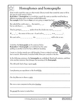 4th grade 5th grade writing worksheets homophones and