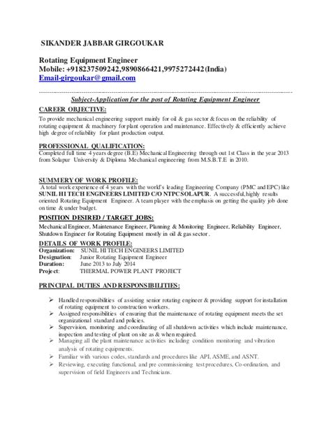 and gas mechanical maintenance engineer resume rotating equipment engineer resume