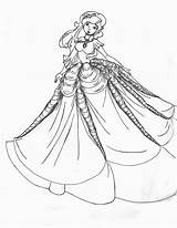 Coloring Gown Pages Princess Printable Fancy Dresses Ball Gowns Barbie Adults Outline 535c Colouring Drawing Adult Night Prom Realistic Princesses sketch template