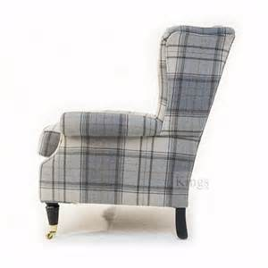 Terracotta Carpet by Wade Upholstery Jasper Wing Chair In Grey Wool Check Sold
