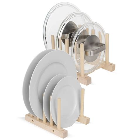 acacia set   wooden plate holder pot lid organizer rack walmartcom walmartcom