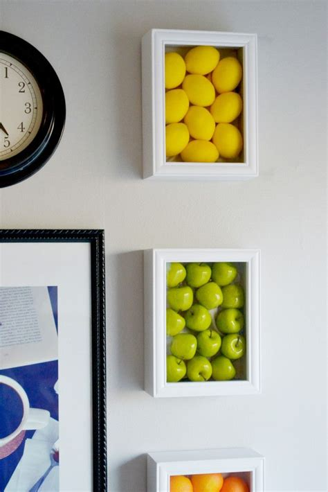 colorful kitchen wall art with fake fruits walls