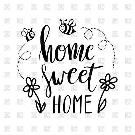 hand lettering typography poster with quote home sweet home royalty free vector clip art image