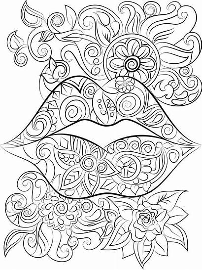 Coloring Pages Adults Adult Lips Colouring Flowers