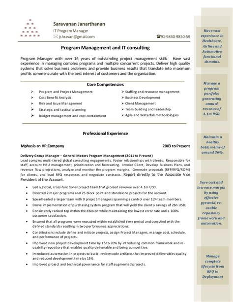 Program Management Resumes by Saravanan Janarthanan Program Manager Resume