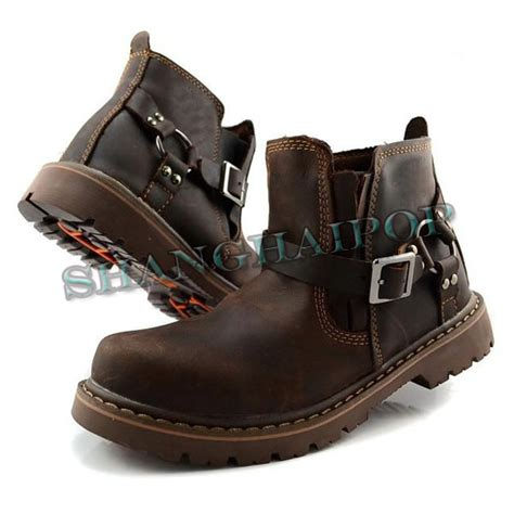 mens casual motorcycle boots mens brown leather harness riding ankle boots strapped