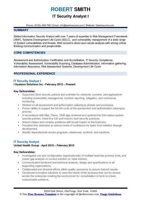 resume security analyst 28 images information security