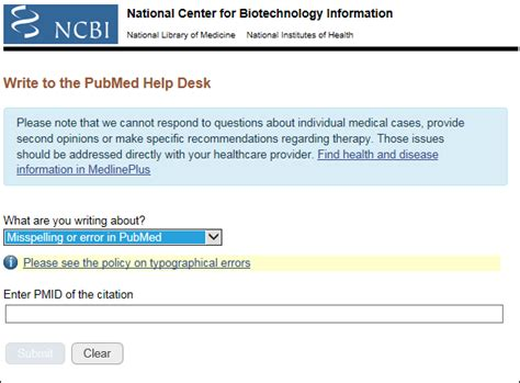 nih it help desk quot write to the pubmed help desk quot customer service form
