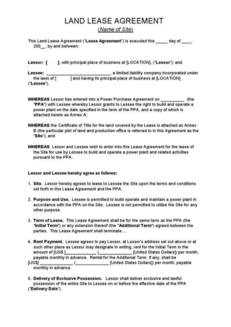 land lease agreement printable lease agreement