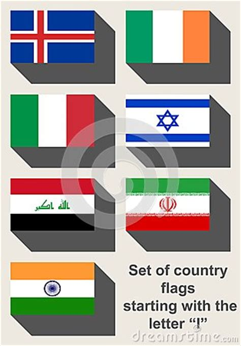 set of country flags starting with i stock illustration