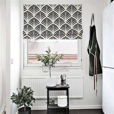 simple geometric pattern linencotton black roman shade