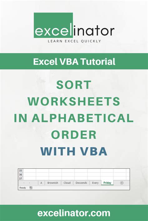 sort worksheets  alphabetical order  vba