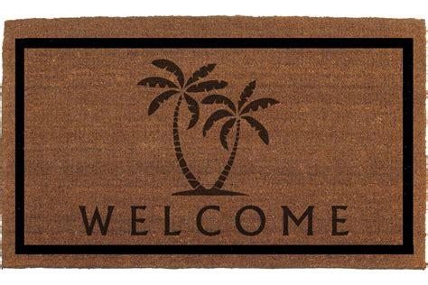 palm trees welcome door mat coir doormat rug by