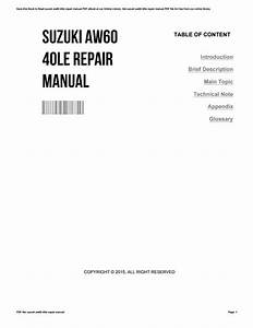 Suzuki Aw60 40le Repair Manual By Patriciakelly2273