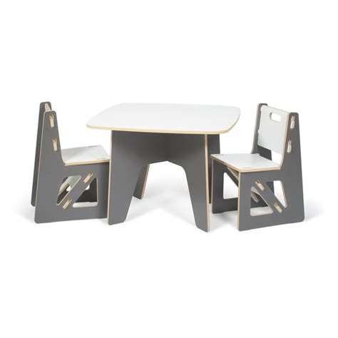 modern grey and white table and chair set by sprout