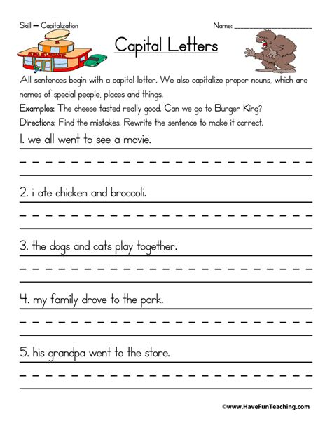 resource second grade capitalization worksheet