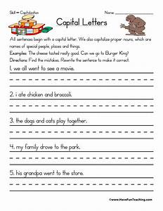 capitalization worksheet have fun teaching With capital letters lesson plans first grade