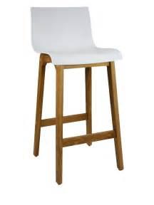 Kitchen Island Seating Bar Stool Timber Frame White Plastic Seat