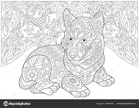 Honden Kleurplaten Husky by Zentangle Siberische Husky En Heraldische Honden