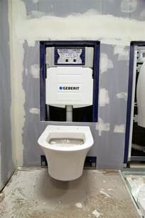 duravit wall hung toilet on the geberit frame system with tank etc kit fit prototype