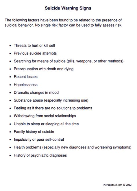 suicide warning signs worksheet therapist aid
