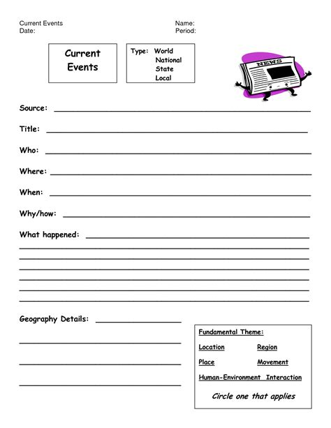 8 Best Images Of Weekly Current Events Worksheet  Current Events Report Format, Current Events
