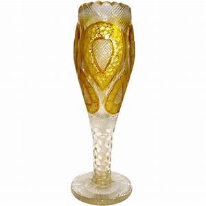 Grand Vase Transparent : a moser clear and amber gold enamelled fluted glass vase bohemian from grandtour on ruby lane ~ Teatrodelosmanantiales.com Idées de Décoration