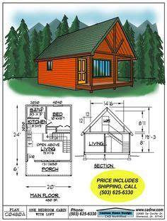 Drawing C0480A 480 S F 20' by 24' Cabin with sleeping