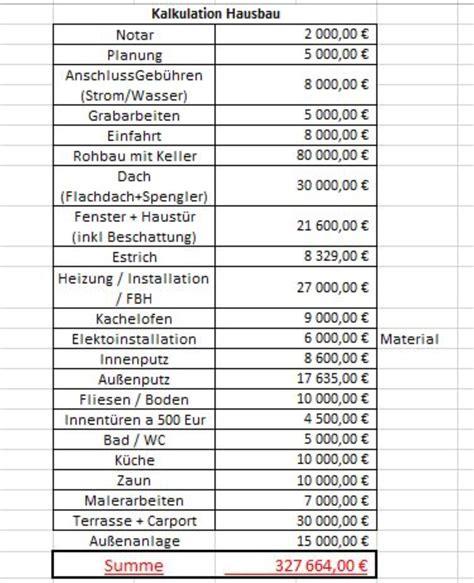 Hausbau Kosten Kalkulieren by Hausbau Kosten Kalkulieren