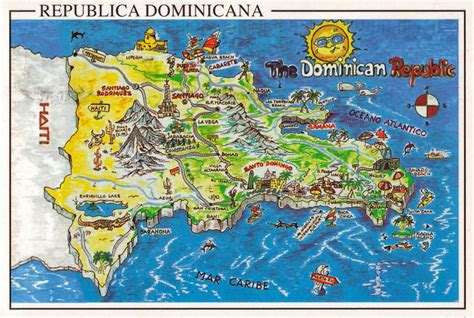 large travel illustrated map  dominican republic
