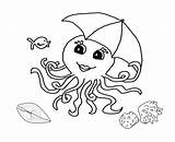 Octopus Coloring Outline Pages Printable Preschool Drawing Clipart Seashells Animals Octupus Umbrella Colouring Cliparts Worksheets Kindergarten Library Students Clip Painting sketch template