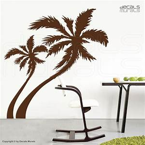 Large wall decals palm tree vinyl stickers decor for Beautiful palm tree decal for wall