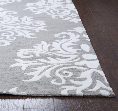 gray white rug harbor classic damask wool runner rug in gray white
