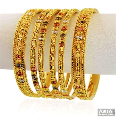 3 tone designer bangles set 22k asba58848 22k gold bangles churis set set of 12 pcs