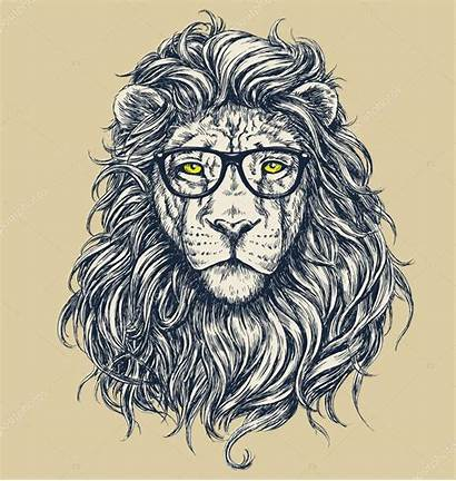Illustration Lion Vector Hipster Glasses Separated Depositphotos
