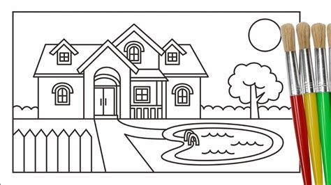 cara menggambar dan mewarnai rumah pemandangan taman