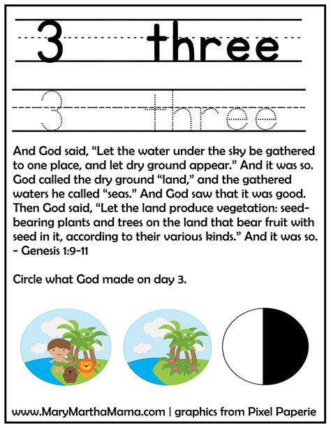 creation story for free printable activities 826 | creation preschool pack 2 number 3