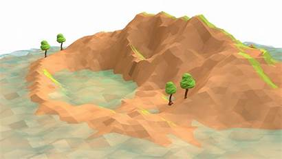 Poly Low Landscape Island Waterfall 3d River