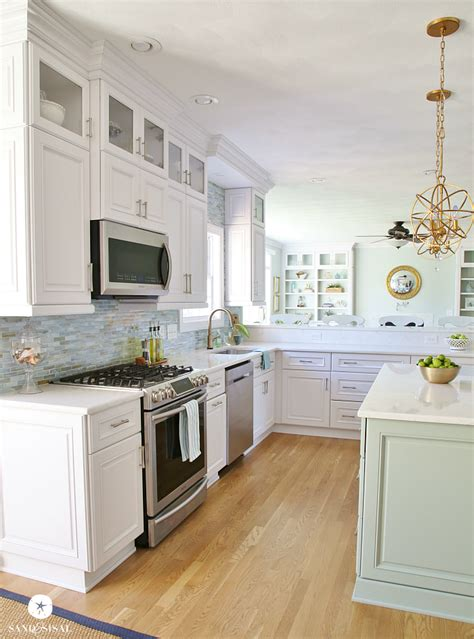 white countertops kitchen coastal kitchen makeover the reveal