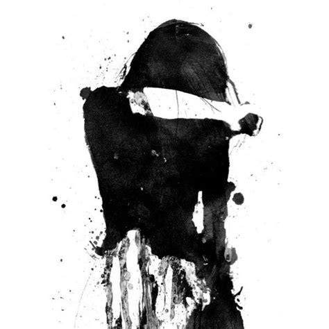 cry girl black  white art acrylic painting giclee