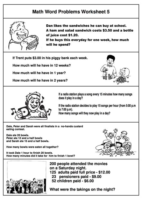 Basic Math Word Problems Worksheets  Math Worksheets With Word Problems For Grade 3 Students K5