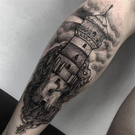 bright shining lighthouse tattoo design ideas