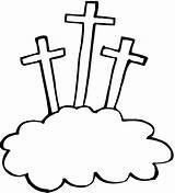 Coloring Easter Crosses Three Clipart Template Printables Kidprintables 3crosses Return sketch template