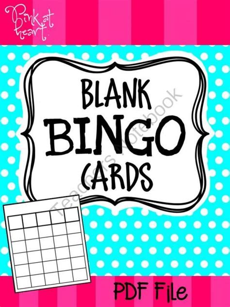 blank bingo cards  pink  heart  teachersnotebook