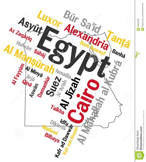 egypt map and cities stock vector image of luxor tagcloud 33933448