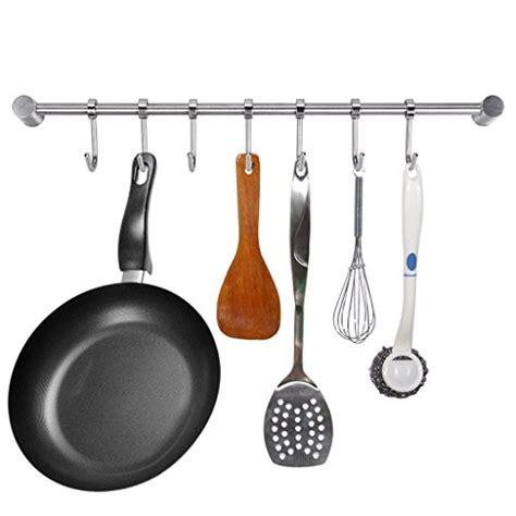 cuisine pot rack kitchen hooks cookware pan utensil rail barra cocina barre stainless steel storage inoxidable acero sumnacon hanging organizer